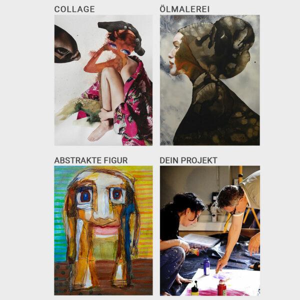 Kunst Workshops bei Kunstkurs Berlin altmeisterliche Ölmalerei GRISAILLE Collage zeichnen abstrakte figuren malerei