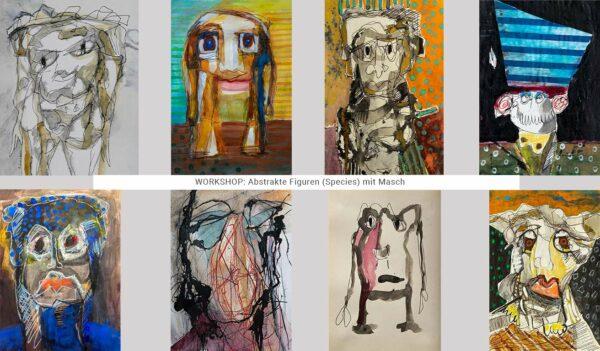 Workshop, Kunstkurs, Abstrakte Figuren, zeichnen, malen